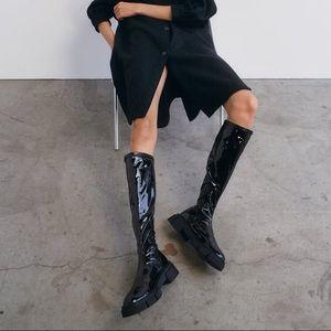 NWT Zara Stretchy High Shaft Patent Finish Boots